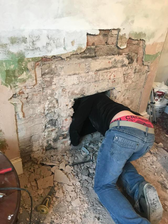 checking lintels in a chimney