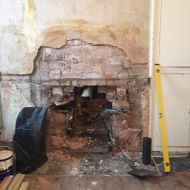 victorian chimney with missing lintel