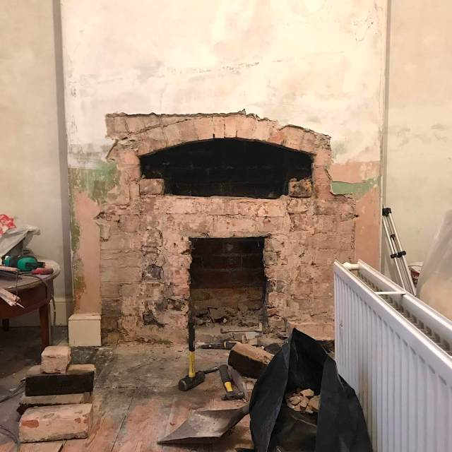 victorian arched lintel in chimney